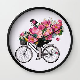 floral bicycle  Wall Clock