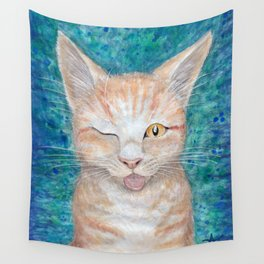 """;P ~ """"Seb the Groovy Cat"""" by Amber Marine ~ Watercolor & Acrylic Painting, (Copyright 2016) Wall Tapestry"""