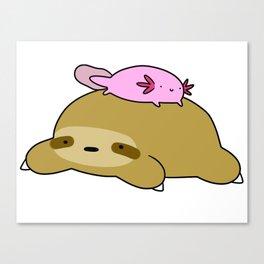 Axolotl and Sloth Canvas Print