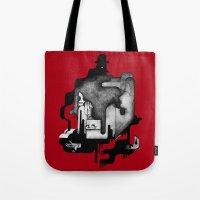 dramatical murder Tote Bags featuring Murder by Iribú