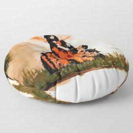 durg maa handpainted on a lion Floor Pillow