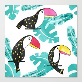 Watercolor toucan and leaves Canvas Print