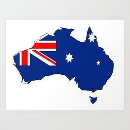 Australia Map with Australian Flag Art Print