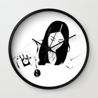 drink Wall Clocks featuring Dangerous Drink by Renan Lacerda