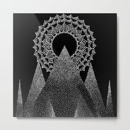 Refuge white on black Metal Print