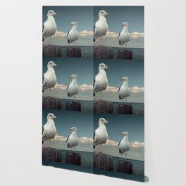 Two Sea Gulls on Pier Pilings Wallpaper