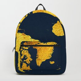 Royal Blue and Gold Map of The World - World Map for your walls Backpack