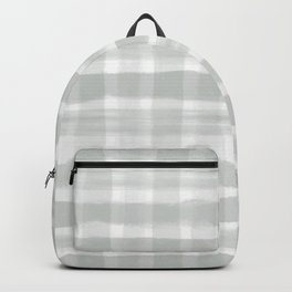 Pantone Storm Gray 15-4003 Watercolor Brushstroke Plaid Pattern Backpack