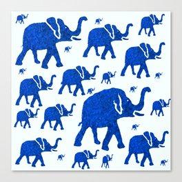 ELEPHANT BLUE MARCH Canvas Print