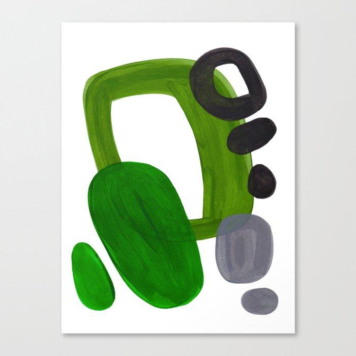 Mid Century Vintage 70's Design Abstract Minimalist Colorful Pop Art Olive Green Dark Green Grey Leinwanddruck