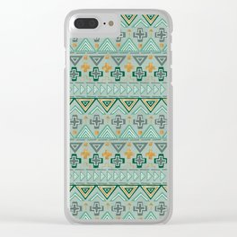Bohemian Aztek pattern in Gold & Green Clear iPhone Case