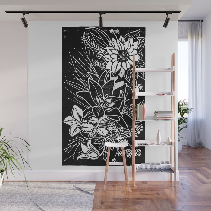 Bouquet Block Print Wall Mural by beegreen Society6