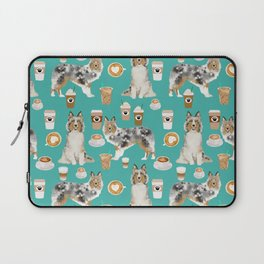 Shetland Sheepdog blue merle sheltie dog breed coffee pattern dogs portrait sheepdogs art Laptop Sleeve