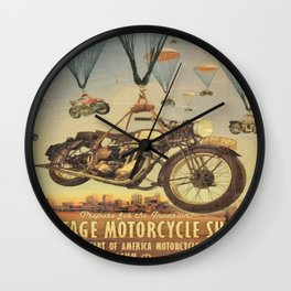 Vintage Motorcycle Show Poster Wall Clock