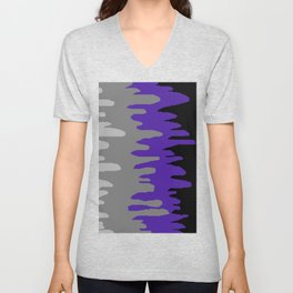 Splash of colour (purple & gray) Unisex V-Neck