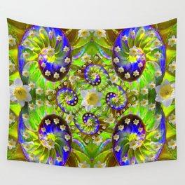 ULTRA VIOLET GREEN DAFFODIL GARDEN MAZE Wall Tapestry