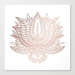 Botanical Lotus - Rose Gold Canvas Print