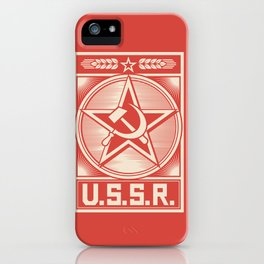 star, crossed hammer and sickle - ussr poster (socialism propaganda) iPhone Case