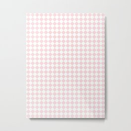 Small Diamonds - White and Light Pink Metal Print