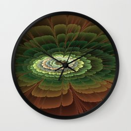 Abstract Flower Brown And Green, Fractal Art Wall Clock