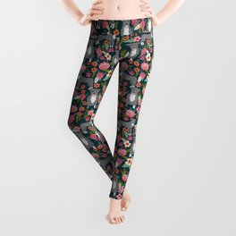 Pit Bull Terrier florals must have dog art pet friendly gifts for pit bull owners cute illustration  Leggings