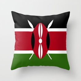 Kenya flag emblem Throw Pillow