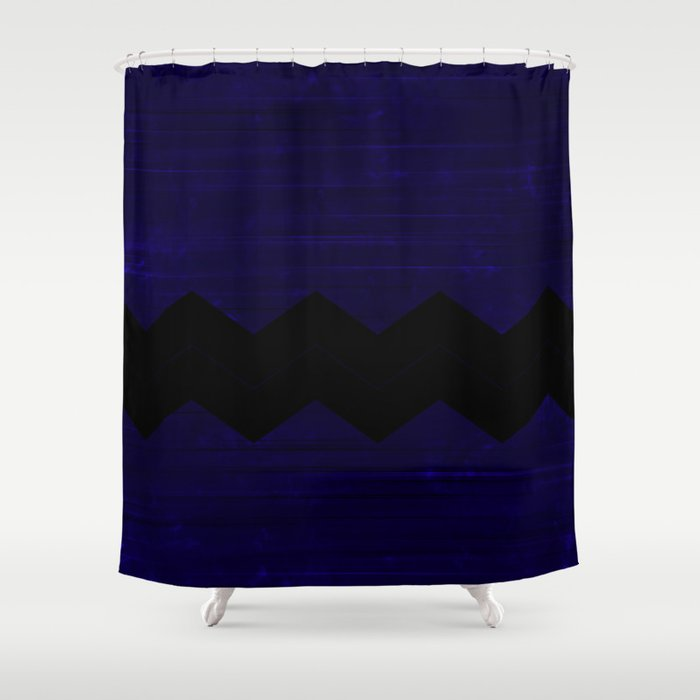 Black Blue Chevron Shower Curtain By Katmun Society6