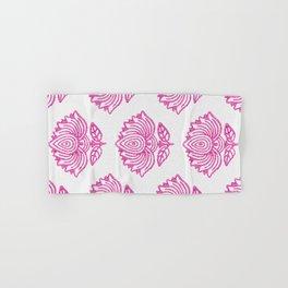 Pink Indian Woodblock Lotus Pattern Hand & Bath Towel