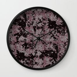 Silver Frost, Eggplant and Black Ice Abstract Pattern Wall Clock