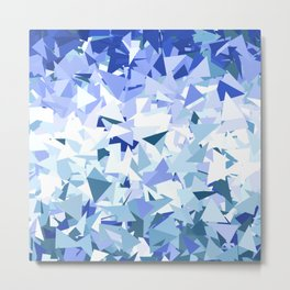 Blue Ombre Triangles Metal Print