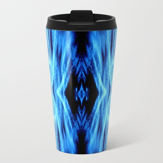 Electric Blue Abstract Metal Travel Mug
