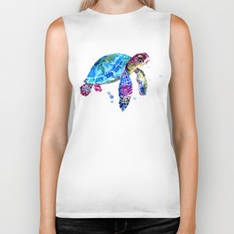 Sea Turtle, Blue Purple Turtle illustration, Sea Turtle design Biker Tank