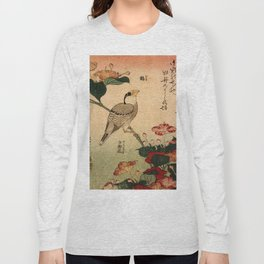 Hokusai,Hawfinch and mirabilis - manga, japan,hokusai,japanese,北斎,ミュージシャン Long Sleeve T-shirt