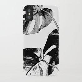 Black monstera leaves watercolor iPhone Case