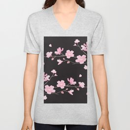 Cherry Blossom - Black Unisex V-Neck