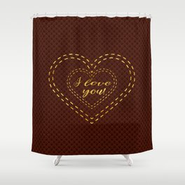 Royal Burgundy Gold Great Gatsby I love You typography Shower Curtain