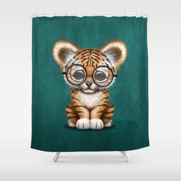 Cute Baby Tiger Cub Wearing Eye Glasses on Teal Blue Shower Curtain