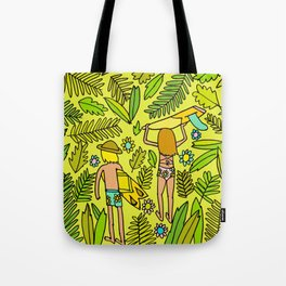 Wander On // Single fin Twin Fin surf art tropical Tote Bag