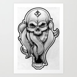 Tentacles skull Art Print