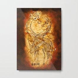 Henna Giraffe Metal Print