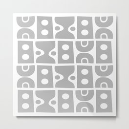 Mid Century Modern Abstract Composition 617 Gray Metal Print
