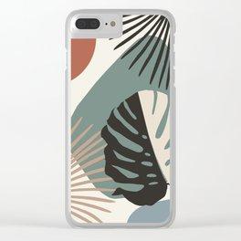 Minimal Yin Yang Monstera Fan Palm Finesse #1 #tropical #decor #art #society6 Clear iPhone Case