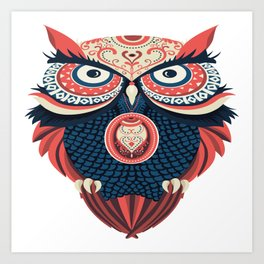 Colorful Owl Art Print