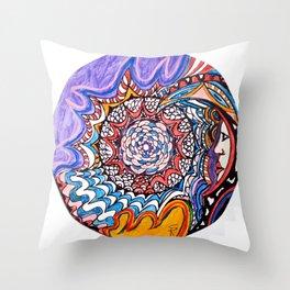 Moon viewer Throw Pillow