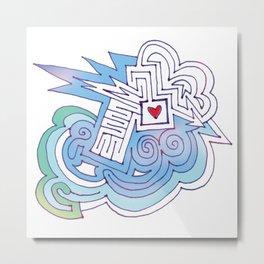 Arrow thru Heart Maze Cloud Metal Print