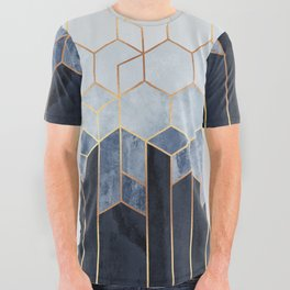 Soft Blue Hexagons All Over Graphic Tee