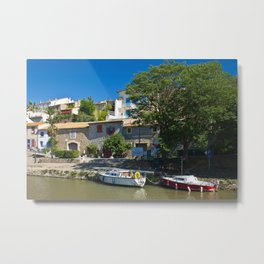 old houses on the canal du midi, france 3 Metal Print