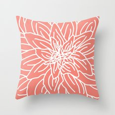 Abstract Flower Coral Throw Pillow