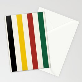 Rustic Lodge Stripes Black Yellow Red Green Stationery Cards