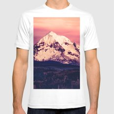 Forest Mountains - Mt Hood Snow Clouds Mountain and Trees Mens Fitted Tee MEDIUM White